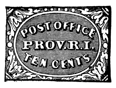 Providence Ten Cent Stamp, 1846 was the currency of Rhode island from 1846 issued by government vintage line drawing. Иллюстрация