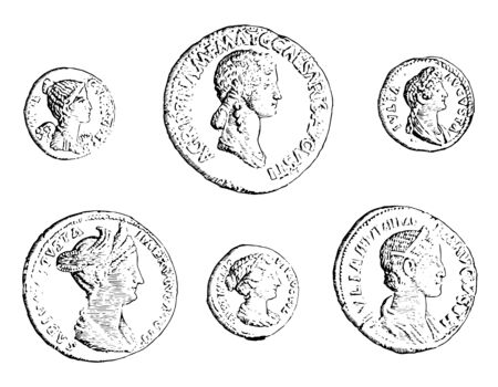 Collection of different coins with bust image of Caesar, vintage line drawing or engraving illustration. Ilustracja