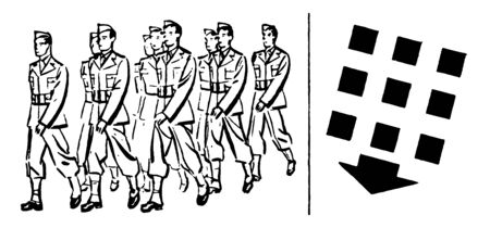 This image represents military Personnel Formation Marching, vintage line drawing or engraving illustration. Illustration