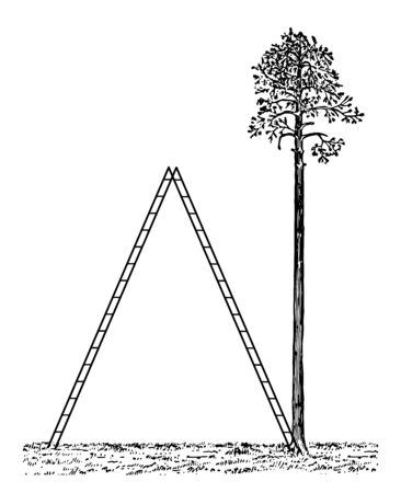 An image showing the giant scale. The staircase forms an isosceles triangle with the ground, vintage line drawing or engraving illustration.