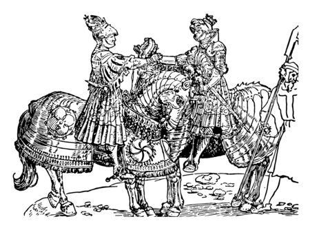 Two heavily dressed military sitting on horseback and shaking hands, vintage line drawing or engraving illustration. 向量圖像