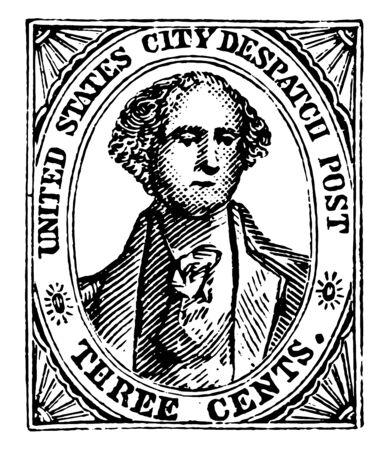 New York City Three Cent postage Stamp, 1842 vintage line drawing. Иллюстрация