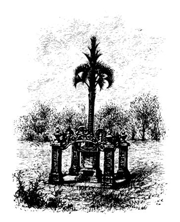 An Iron Palmetto was erected in honor of the fourty percent of South Carolina Palmetto regiment who died of deases and wounds regiment vintage line drawing.