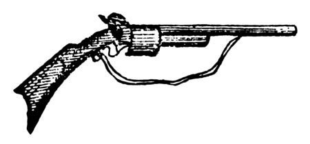 Carbine is a fire arm intermediate between the pistol and musket in length and weight, vintage line drawing or engraving illustration. Иллюстрация