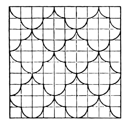 The image shows a beautiful tiling design along with a repetitive design pattern. Square in which there are ten rows and ten columns and each row has a bow and generates creative design, vintage line drawing or engraving illustration.