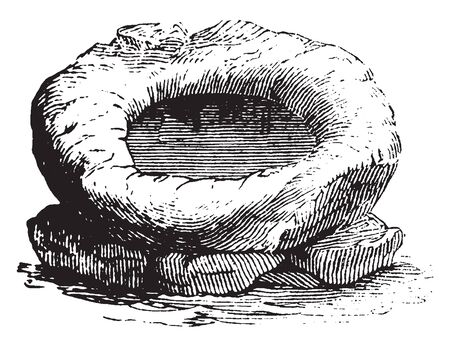 Wash-basin of Pocahontas who was a Native American woman ,vintage line drawing or engraving illustration.