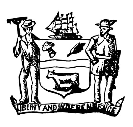 Delaware seal 1890, coat of arms shows liberty and independence vintage line drawing.