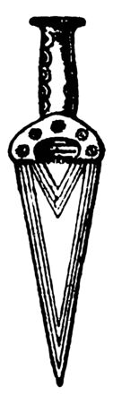 This image shows the two copper axes. One is smaller in shape and the other is larger. These are generally used in the Bronze Age, vintage line drawing or engraving illustration.