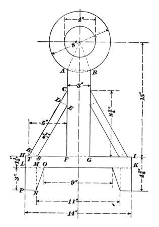 Illustration of a composite figure formed by rings, rectangles, triangles, etc, vintage line drawing or engraving illustration.
