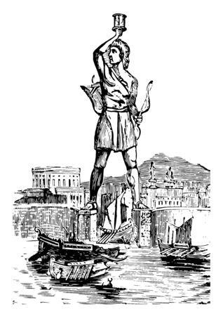Die Statue des Koloss auf Rhodos, Vintage-Linien-Zeichnung oder Gravurillustration. Vektorgrafik