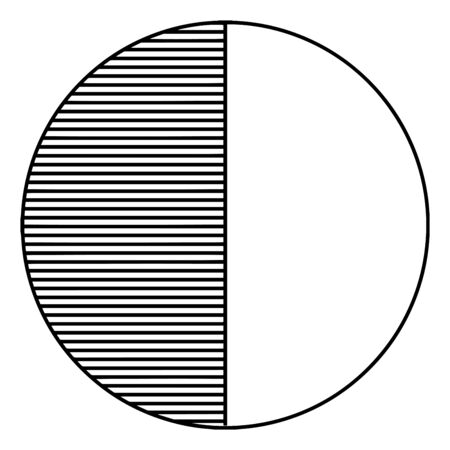 A picture showing a circle, 12 fraction. The half part of circle is underlined. Half part of circle is blank, vintage line drawing or engraving illustration. 일러스트