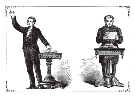 An extemporaneous speaker on the left and a speaker confined to a manuscript on the right, vintage line drawing or engraving illustration