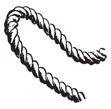 Rope is a group of yarns plies fibers or strands that are twisted or braided together into a larger and stronger form, vintage line drawing or engraving illustration. Çizim
