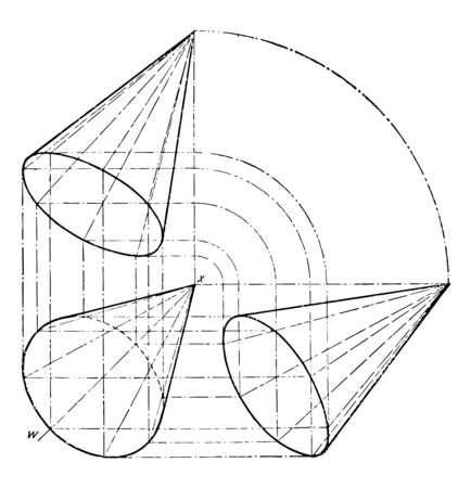 The image shows the projection of the cone. It is showing three projections of a cone, vintage line drawing or engraving illustration.