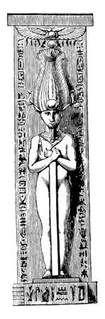 A sculpture of the god Osiris, vintage line drawing or engraving illustration.