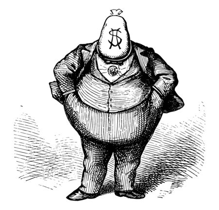 The brains at the state convention, rochester, boss tweed with a money bag for a head entitled, Tweed as the Brains at the New York Convention vintage line drawing. Ilustrace