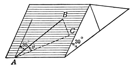 This diagram shows triangle, square. Triangle is 30 degrees. Triangle ABC and straight line is 35 degrees, vintage line drawing or engraving illustration.