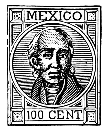 Mexican 100 cent stamp have full faced hidalgo designed over it vintage line drawing.