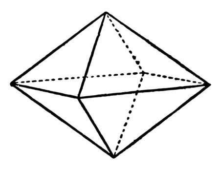The image tetragonal Bipyramids, where the vertical axis is smaller than the horizontal axis, vintage line drawing or engraving illustration.