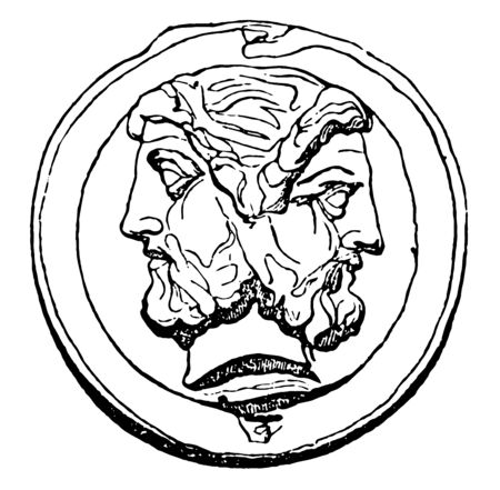 A coin that has the design of the double-headed head of an emperor, vintage line drawing or engraving illustration.