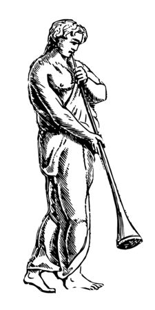 Greek Funeral Pipe in the funeral procession of Hector, vintage line drawing or engraving illustration.