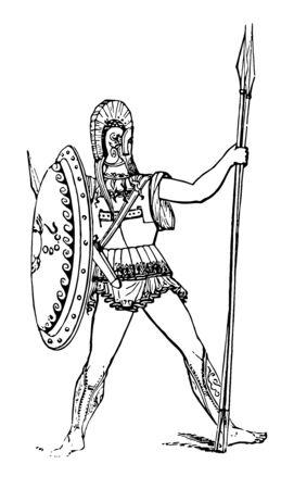 Un Arma es un traje completo utilizado por los soldados griegos, línea vintage de dibujo o ilustración de grabado.