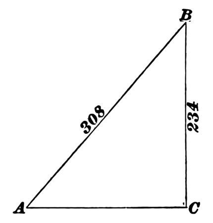 This image shows the right triangle having one side of the triangle is 234. Another side is not more than the hypotenuse of 308, vintage line drawing or engraving illustration.  イラスト・ベクター素材