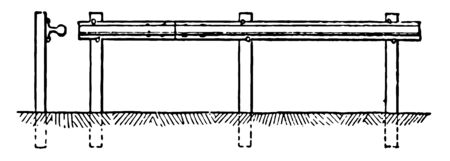 Cavalry obstacle consists of railroad ties planted at intervals of 10 feet with tops four, vintage line drawing or engraving illustration.