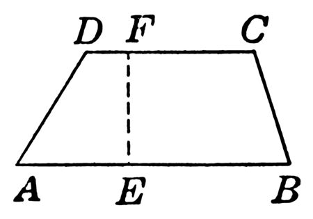 An image showing the ABCD trapezoid. Height labeled with EF dotted line. Quadrilateral that has two and only two parallel sides, vintage line drawing or engraving illustration. Фото со стока - 132957778