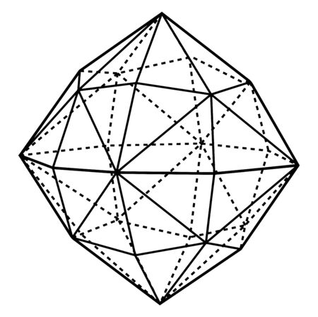 Here each face of the octahedron is replaced by six scalene triangles, so those in totals there are forty-eight faces, vintage line drawing or engraving illustration.