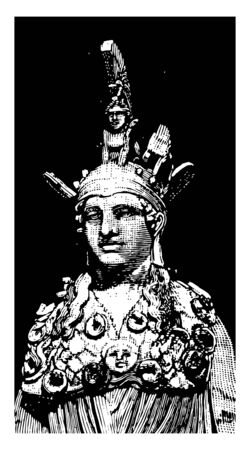 A statue of Athena, vintage line drawing or engraving illustration. Vettoriali
