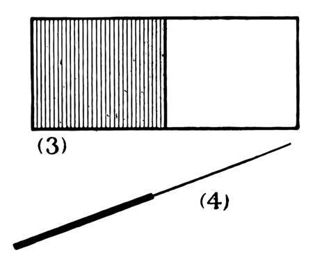 Rectangle representing half of the object. The diagonal shown is divided into two sections, vintage line drawing or engraving illustration.