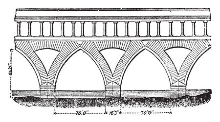 Ticino Bridge which still exists has seven pointed brick arches each 70 feet in span and 64 feet in height, vintage line drawing or engraving illustration.
