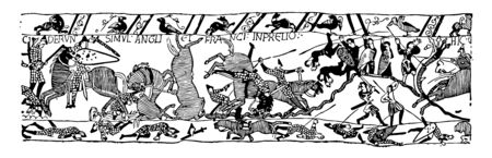 Bayeux tapestry scene depicting the Battle of Hastings and the death of Harold, vintage line drawing or engraving illustration. 向量圖像
