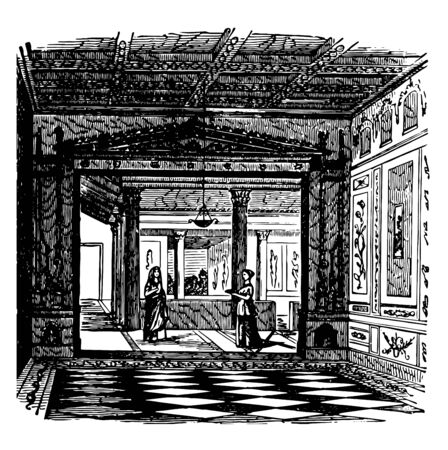 This image shows the largest apartment. This apartment is located in Pompeii. There are two women inside the apartment, vintage line drawing or engraving illustration.
