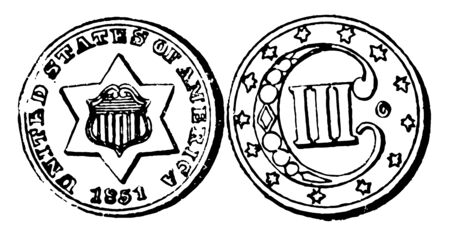 Silver Trade Dollar Coin is trade dollar from United States. Obverse the seat is inscribed IN GOD WE TRUST. Reverse shows an eagle, vintage line drawing or engraving illustration. Stock Illustratie