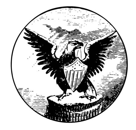 Mississippi great seal displays an eagle on it vintage line drawing.