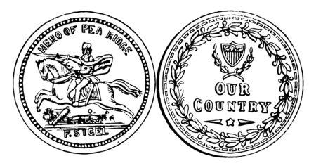 A picture showing a war coin. One side of coin there are single hours a back and