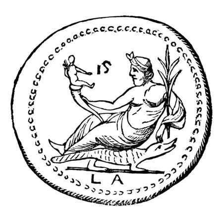 The coin represented Egypt of a man seated on a crocodile, vintage line drawing or engraving illustration.