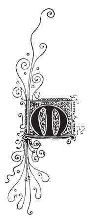 A letter M in Gothic uncial, vintage line drawing or engraving illustration
