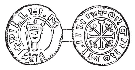Coin of Willian I in which the Norman coins of England begin with those of William I, vintage line drawing or engraving illustration.