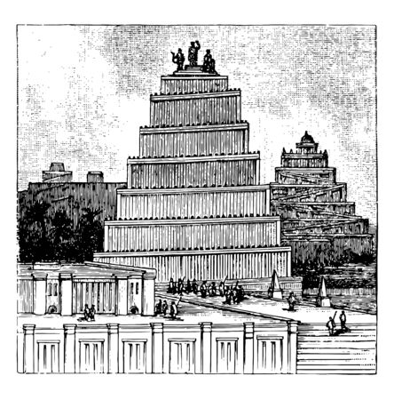 This image shows the Temple of Chaldea. There are some trees behind the temple. The structure of the temple is in a stepped format. There are some villages in front of the temple, vintage line drawing or engraving illustration.