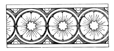 The image shows the beautiful Rosette design. It shows the repetitive pattern of rosette. It has a flower type structure, vintage line drawing or engraving illustration.