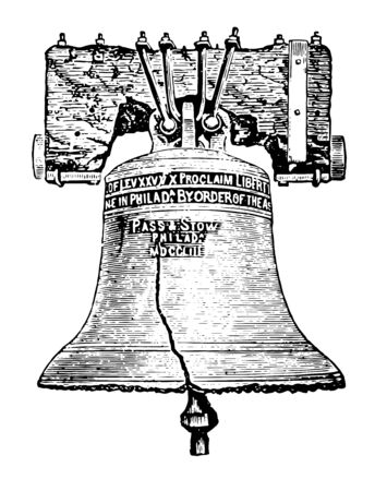 Liberty Bell, Philadelphia, Pennsylvania is an iconic symbol of American Independence, located in the Liberty Bell Center in Independence National Historical Park vintage line drawing. 矢量图像