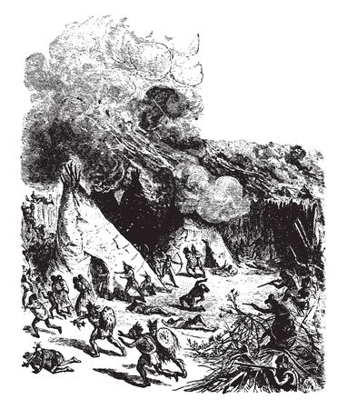 Attack on Pequot Fort which is the site of a former fortified village ,vintage line drawing or engraving illustration. Иллюстрация