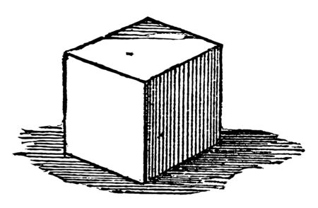 The image shows the cube as a regular solid body, with six equal square sides. The figure has cubic three-dimensional structure, vintage line drawing or engraving illustration.