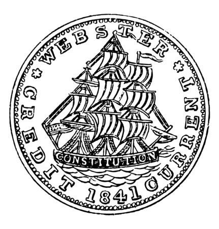This is an image of Copper Hard Times Token. Obverse has the image of a right-facing sailing ship, vintage line drawing or engraving illustration.