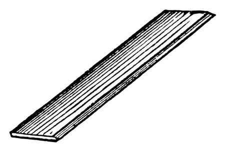 Picture shows a tangent Ruler. It is a straightedge with equally spaced markings along its length. It is used in geometry, technical drawing, engineering and building to measure distances, vintage line drawing or engraving illustration.