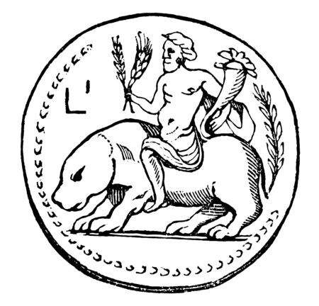 This image shows the medal of the Deity of the Nile representing a divinity of the Nile River mounted on a hippopotamus. In the hand of God there is a weapon, vintage line drawing or engraving illustration. Illusztráció