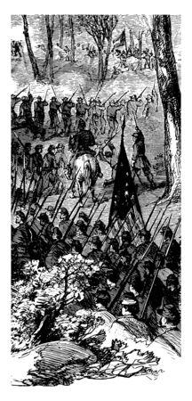 American civil war battle of Pea Ridge in 1862 vintage line drawing. Ilustração